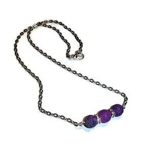 Gemstone Bar necklace Purple Dragon Vein